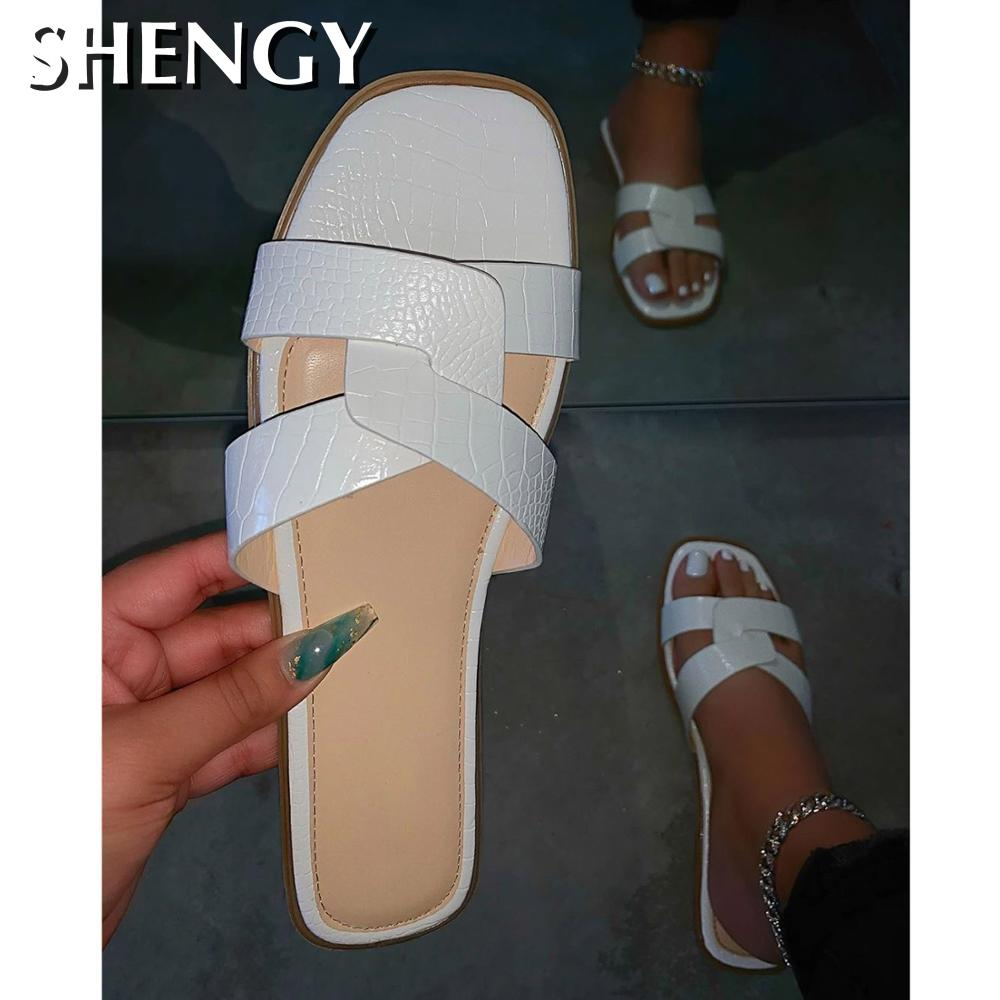 SHENGY 2020 INS Women Flat Sandals Nude