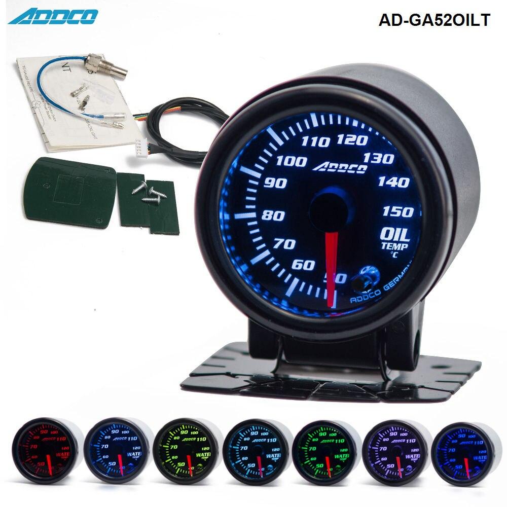 """2 """"/52 мм 7 цветов LED Автомобильный измеритель температуры масла датчик дымовой линзы указка Универсальный Автомобильный измеритель AD-GA52OILT"""