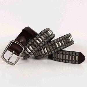 Image 5 - 2019 Heavy Metal Rivet Belts For Men Cowboy Motorcycle Jeans Genuine Leather Men Belt Punk Rock Male Strap Ceinture Homme