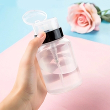 1Pc 200ml 2 Color Nail Polish Remover Alcohol Liquid Press Pumping Bottle Nail Art UV Gel Cleaner Empty Plastic Container Tool