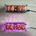 Творческий газоразрядный индикатор часы в-12 4-разрядный свечение зеленого и синего цветов лампы Время Дисплей Ретро настольные часы