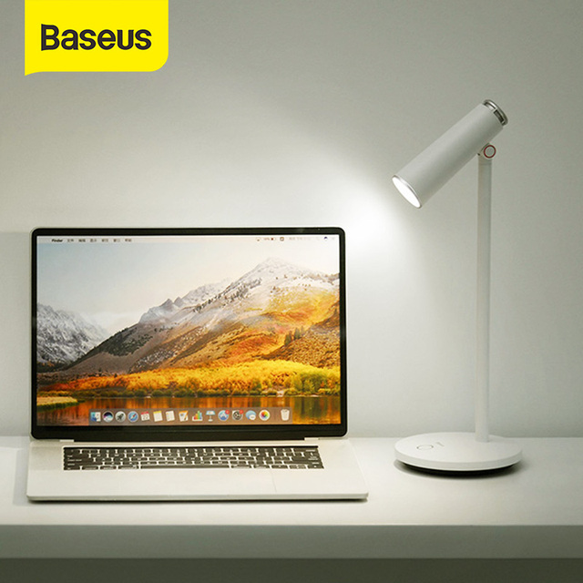Baseus Desk Lamp Dimmable Reading light Eye Protect 3000K/3700K/5000K LED stand Light Touch Switch USB Rechargeable Table Lamp