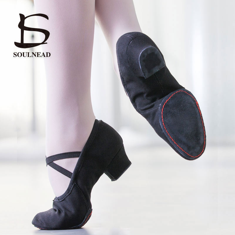 Women Ballet Shoes Girls Ballet Jazz Dance Shoes Soft Sole Low Heels Kids Dancing Shoes Pink/Black/Red Women's Exercise Shoes