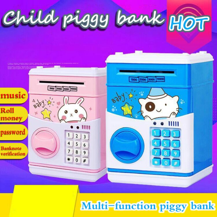 2019 Electronic Piggy Bank ATM Password Money Box Cash Coins Saving Box Bank Safe Box Automatic Deposit Banknote Christmas Gift