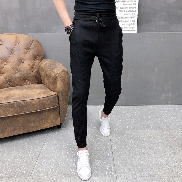 Fashion Korean Solid Joggers Men High Quality Autumn Winter Thick Pants Men Slim Fit Drawstring Mens Casual Pants Black/Gray 36 2