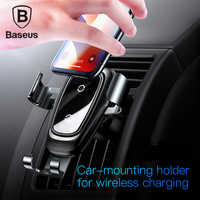 Baseus Car Phone Holder 10w wireless charger for iPhone X Samsung S10 S9 S8 fast charging wireless car holder stand charger