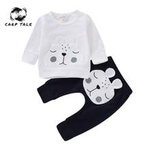 цена на Newborn Baby Boys Clothes Bear Warm Winter Tops T-shirt Pants Outfits Clothes Set Cartoon Cotton Infant Girl Clothing 3-18Months