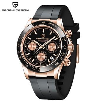 2020 New PAGANI DESIGN Luxury Brand Mens Sports Watches Waterproof Chronograph Japan VK63 Quartz Movement Watch Rubber Strap - Gold-Black