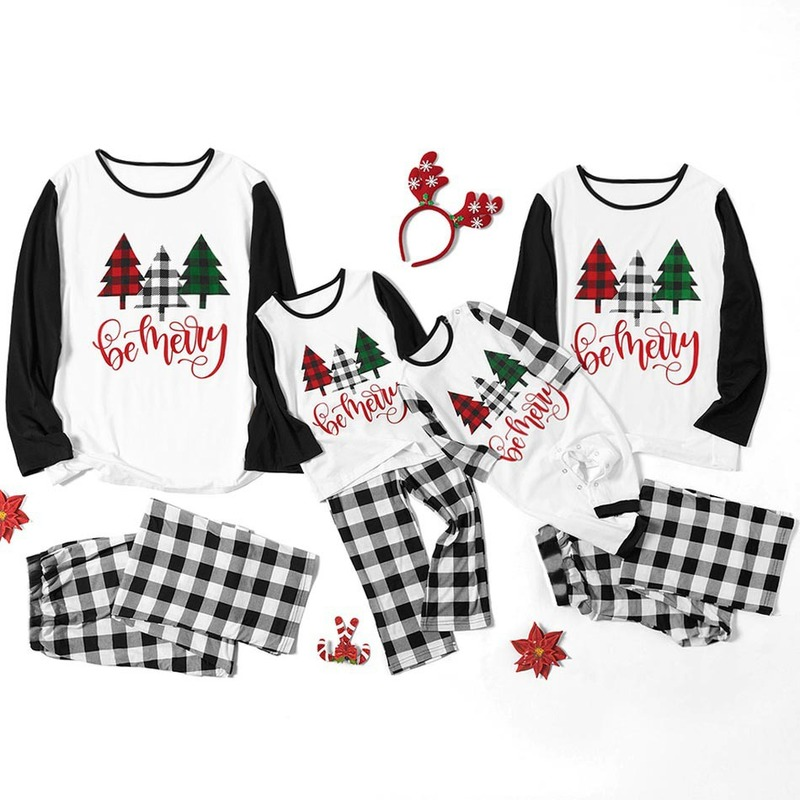 S-3XL 6M-9Y 2019 Family Christmas Pajamas Cotton Adult Women Kids Family Matching Clothes Christmas Pajamas Family Set CL210