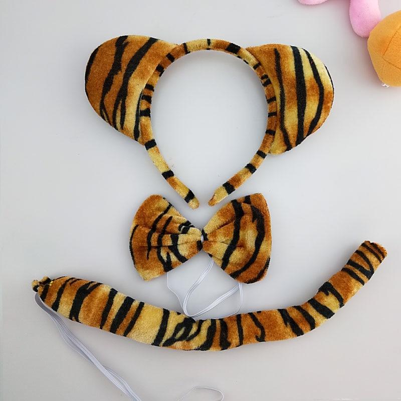 Детская повязка на голову с ушками животных для мальчиков и девочек; комплект с галстуком-бабочкой и хвостом для детей и взрослых; карнавальный костюм; вечерние аксессуары для волос - Цвет: 50