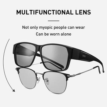 CAPONI Fit Over Glasses Sunglasses Myopia For Driving Color Change Polarized Square Cover Presription Sun Glasses For Men BS3027