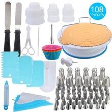 IVYSHION 108 шт./компл. поворотный стол для торта набор кондитерских изделий трубка Fondant(сахарная) инструмент Кухня Десерт Формы для выпечки принадлежности комплект для украшения торта