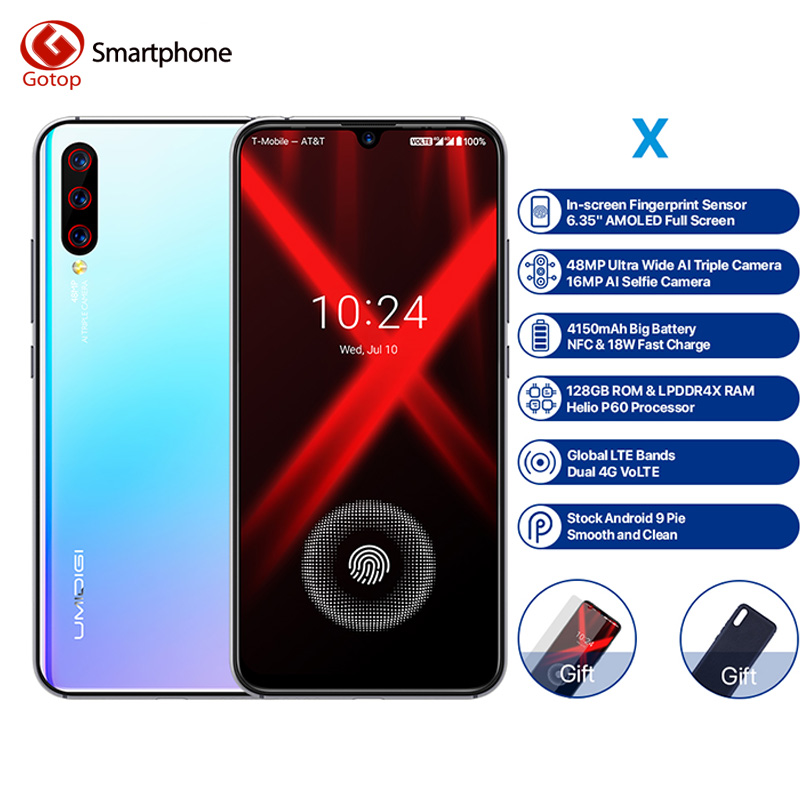 UMIDIGI X 4GB + 128GB Versão Global Dual 4G Mobile Phone 6.35 ''In-tela de Impressão Digital 48MP Triplo Câmera 4150mAh NFC Smartphones