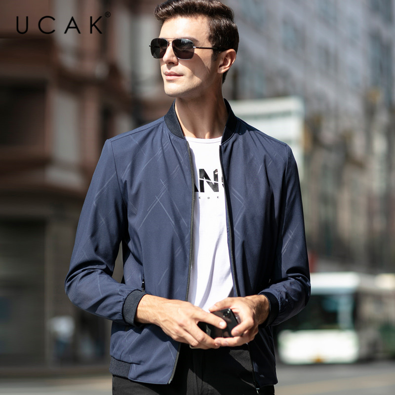 UCAK Brand Strieped Fashion Style Jackets Men Pockets Zipper Casual Coats Streetwear Spring Chaquetas Hombre Jacket Men U8058