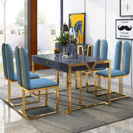 Post Modern Minimalist Dining Table And Chair Nordic Style Dining Table Tempered Glass Light Luxury Rectangular Dining Table Leather Bag