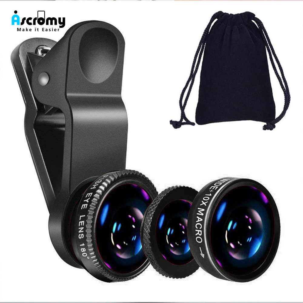 Ascromy Universal 3 in 1 Wide Angle Lenses Cell Phone Camera Fish Eye Lens Zoom Telephoto Kit Smartphone For Samsung Huawei P30