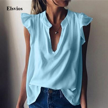 2020 Solid Women Ruffle Short Sleeve Blouse Shirt Summer Sex
