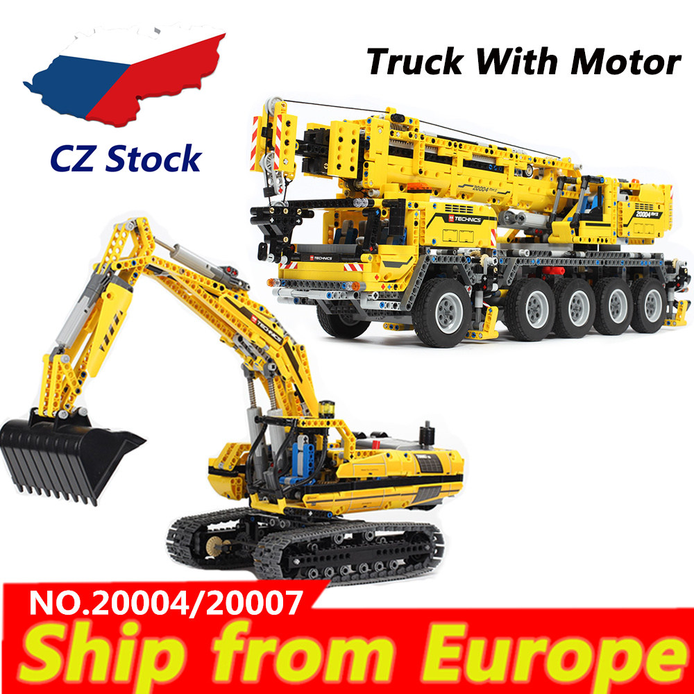 lepinblocks KING LP 20004 20007 RC Engineering Technic Power Motor Crane Mk II Truck building blocks 8043 42009 Bricks toys gift-in Blocks from Toys & Hobbies    1