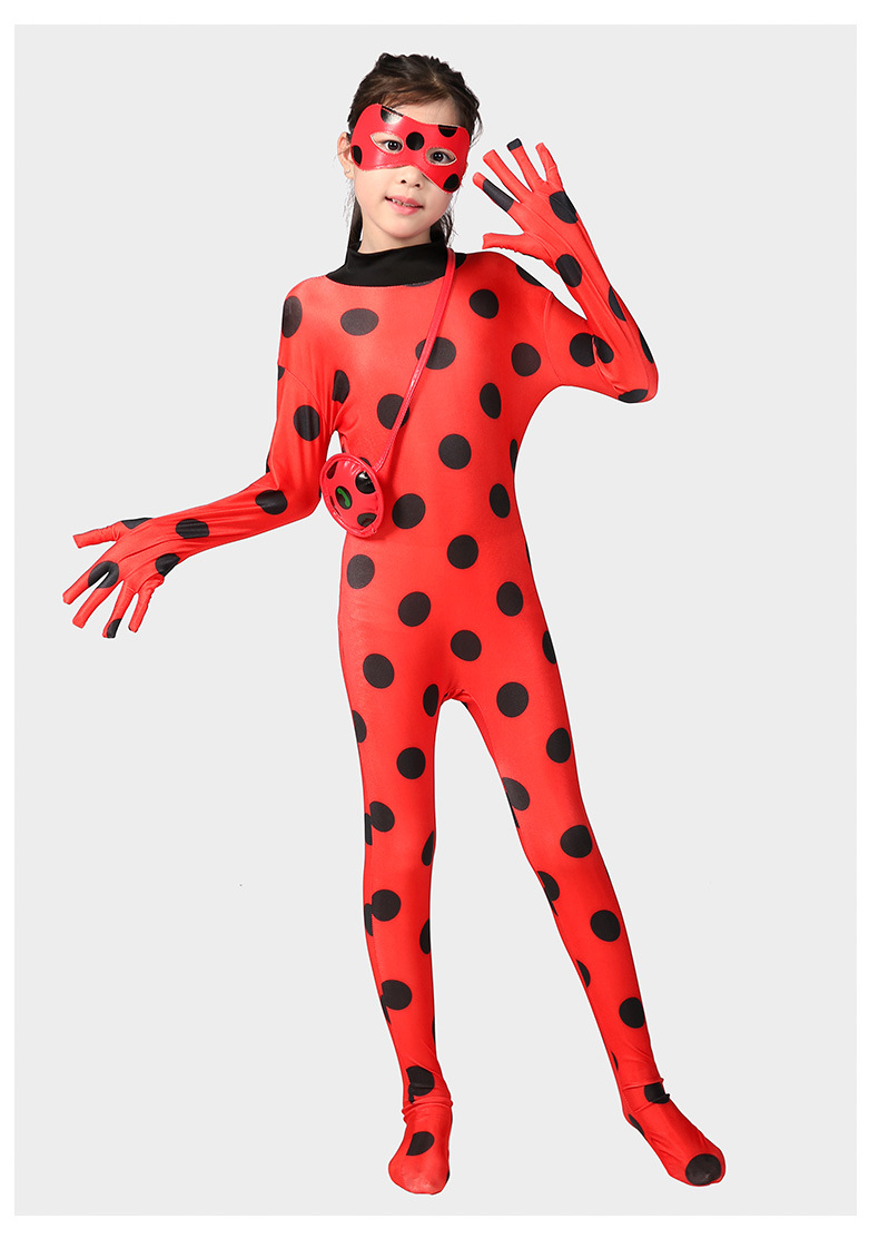 Fantasia Spandex Redbug ladybird Chat Noir Costumes Kids Christmas Party Clothes Red bug Pajamas Home Wear for Girl with Bag wig