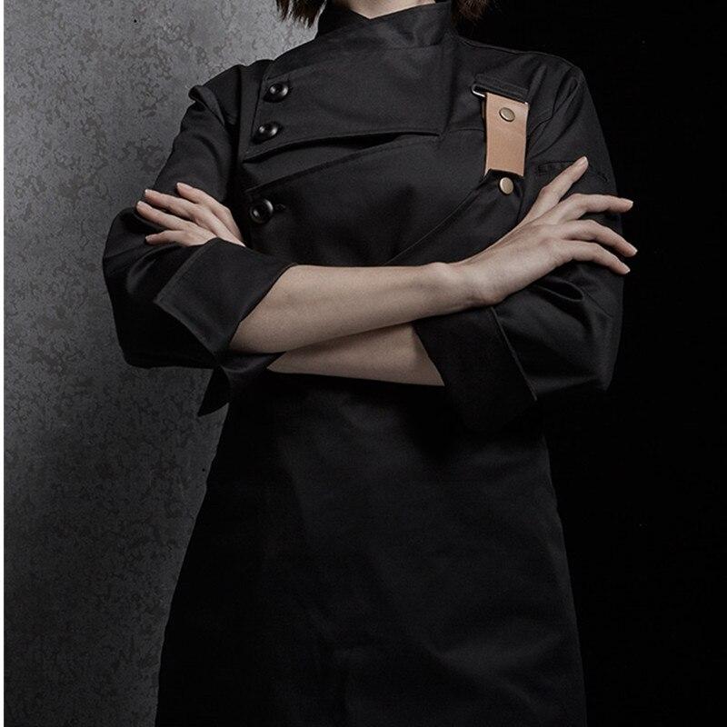 Weibliche Schwarz Weiß Poly Baumwolle Langarm Shirt & Schürze Hotel Restaurant Koch Uniform Catering Küche Mitarbeiter Kochen Arbeit Tragen d33 - 2