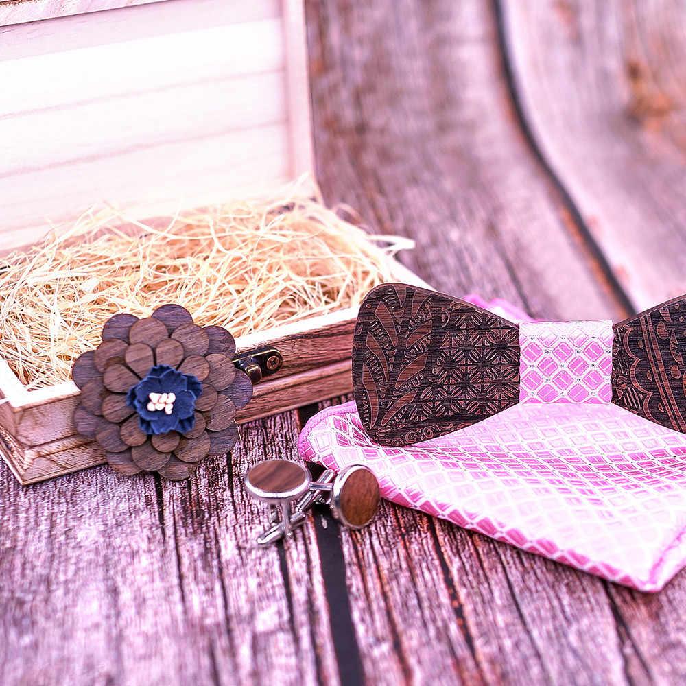 JAYCOSIN ربطة القوس فيونكة الأزياء الرجال خشبية العلاقات المنديل الزواج العريس الزفاف حزب الرقبة TiesWood الجوف منحوتة و مربع