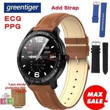 Greentiger L9 Astuto Della Vigilanza Degli Uomini di ECG + PPG Frequenza Cardiaca Misuratore di Pressione Sanguigna Monitor di ossigeno IP68 Impermeabile Bluetooth Smartwatch VS L5 l7 L8