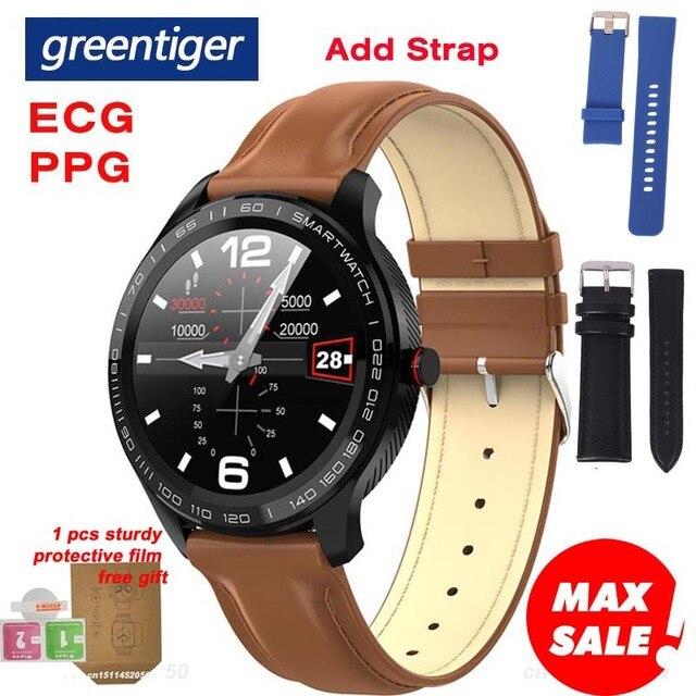 جرينتيجر L9 ساعة ذكية الرجال ECG + PPG معدل ضربات القلب ضغط الدم شاشة عرض نسبة الأكسجين في الدّم IP68 مقاوم للماء بلوتوث Smartwatch VS L5 L7 L8