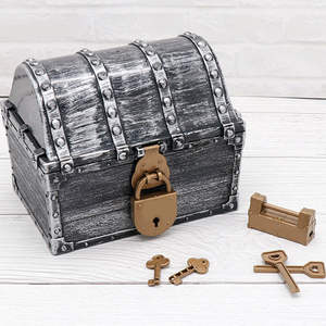 Gold Coins With Keys Children Gift Kids Toys Jewelry Organizer Vintage Storage Box Plastic Pirate Treasure Chest Playset Trinket