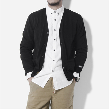 New Arrival Japanese Concise Style High Quality Solid Mens Cardigan Knitted Sweater Fashion Casual Slim Fit Full Sleeve