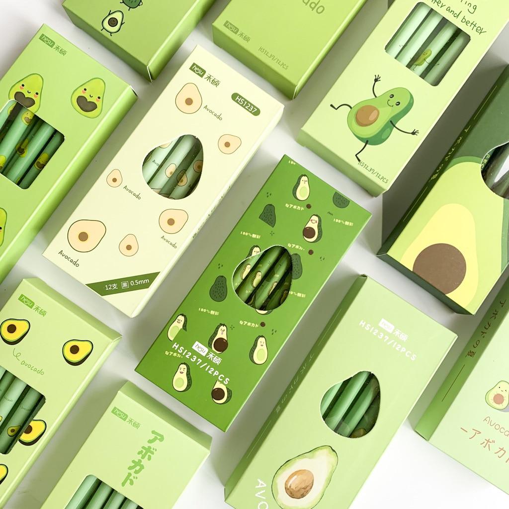 4 Pcs/lot Avocado Season Fruit Gel Ink Pen Promotional Gift Stationery School & Office Supply