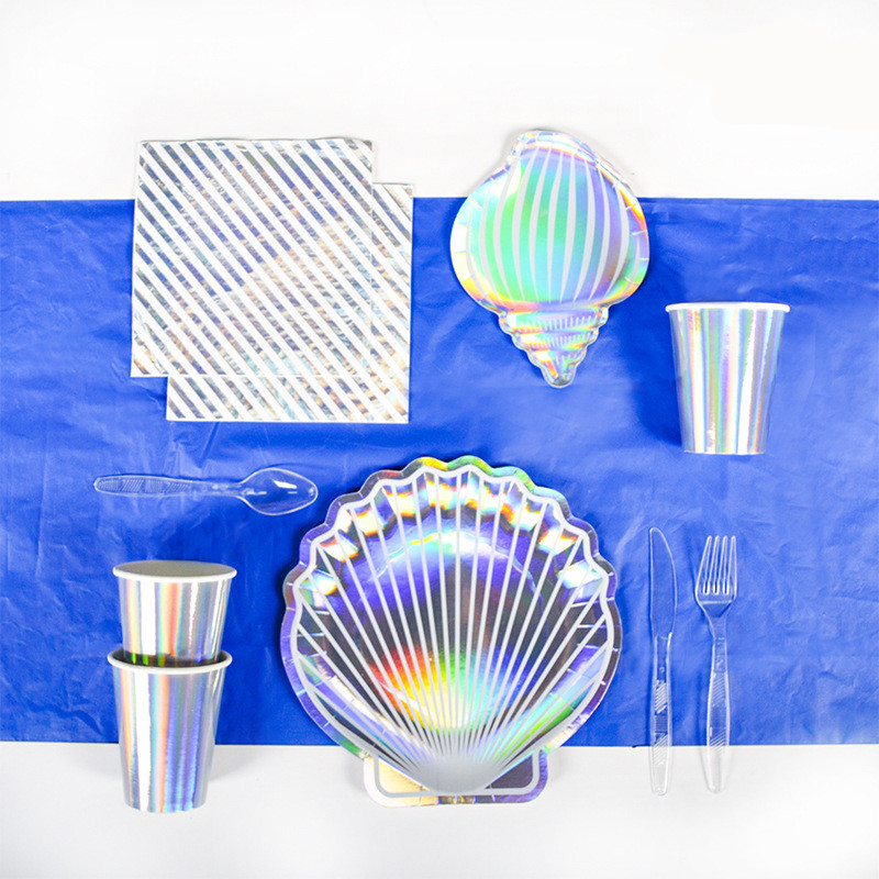 Colorful Laser Shell Disposable Paper Plate Seaside Barbecue Tableware Set Paper Cup Tissue Tablecloth Birthday Party Supplies