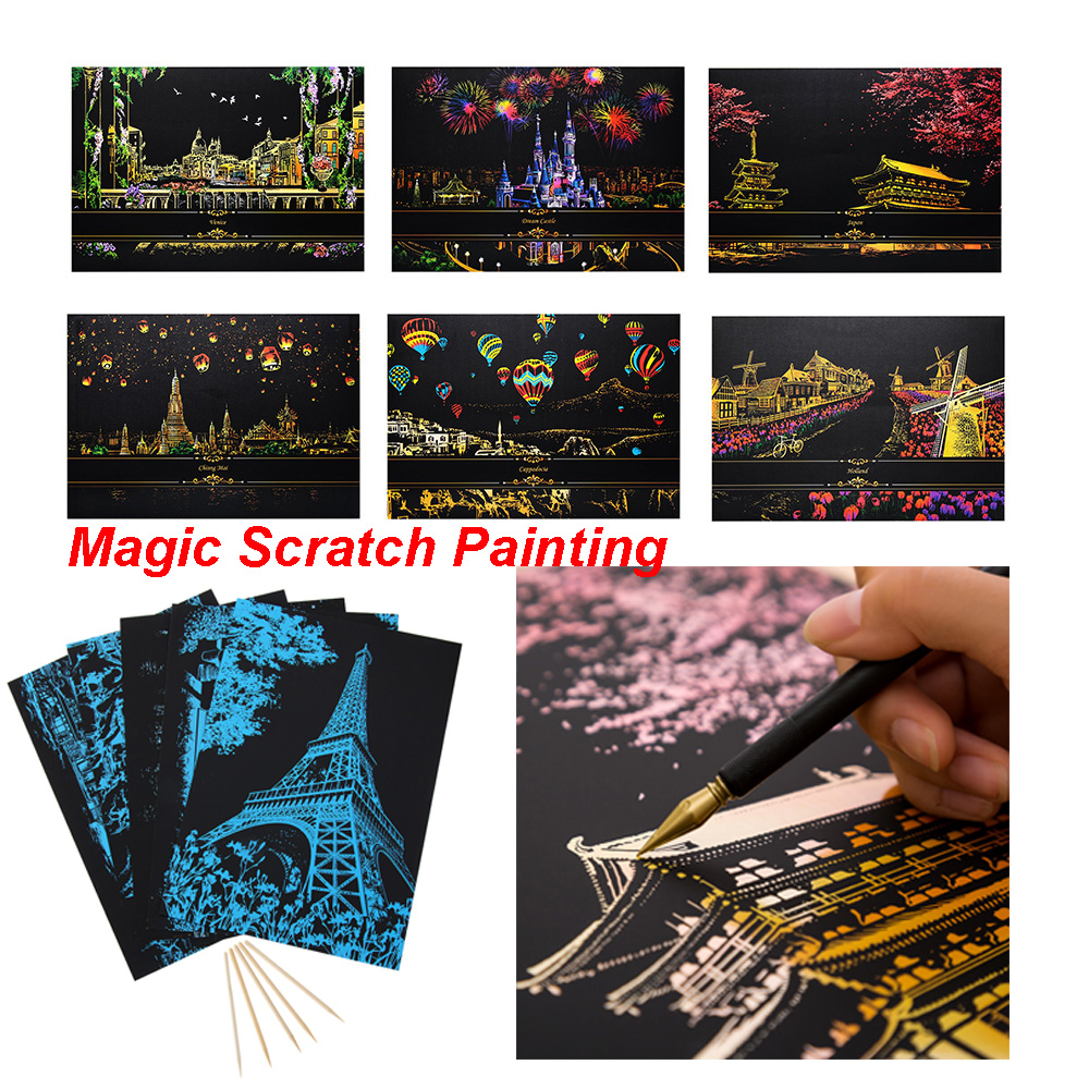 Magic Scratch Art Painting Paper With Wooden Drawing Kid Stick Kit DIY Adult