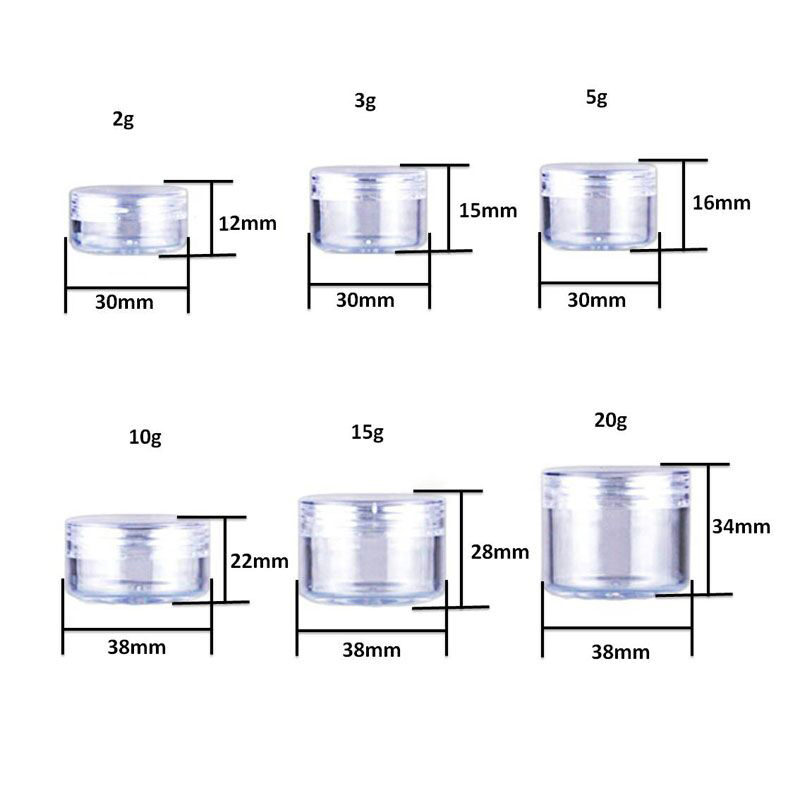 100pcs 2g/3g/5g/10g/15g/20g Empty Plastic Cosmetic Makeup Jar Pots Transparent Sample Bottles Eyeshadow Cream Lip Balm Container-5