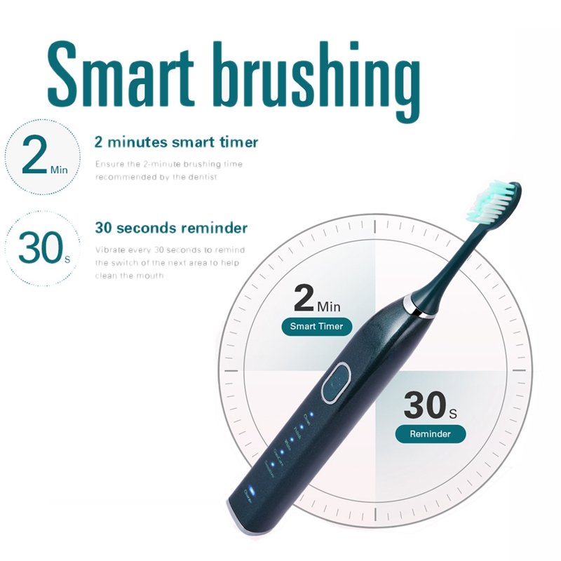 Electric IPX7 Rechargeable 5 Modes Toothbrush with 5 Brush Head
