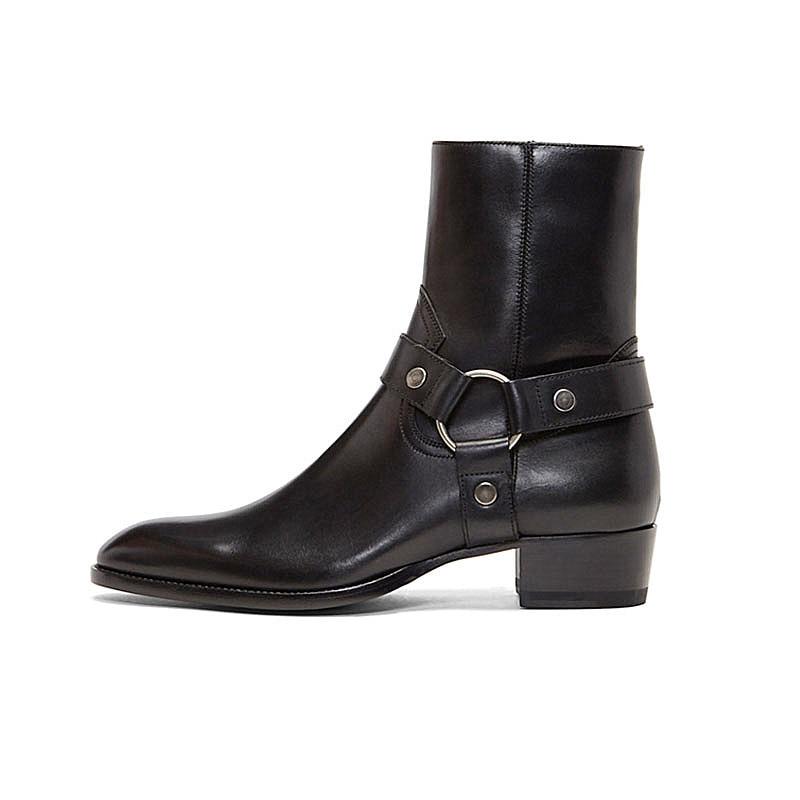 Estilo alto hecho a mano con hebilla de correa de anillo Unisex botas de Chelsea de cuero de cuña de mezclilla botas de arnés de banquete - 6