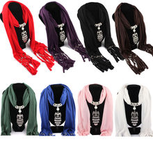 Unisex Women Men's Scarf Spring Autumn Winter Solid Shawls Scarves Necklace Owl Pendant Jewelry Tassels Scarf Shawl Wrap Bandana(China)