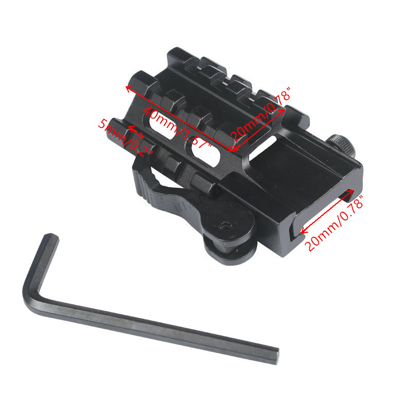 Tactical 45 Degree Offset Double Side 20mm Picatinny Rail Scope Mount Weaver Adapter Laser Sight Base Flashlight Hunting