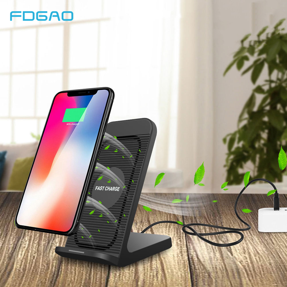 FDGAO Qi Wireless Charger 10W Fast Charging Stand With Cooling Fan for iPhone 11 Pro Max XR XS X 8 Plus Samsung S20 S10 Note 10