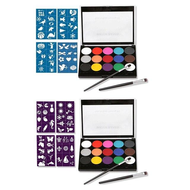 Modèle de Kit de peinture de visage de maquillage de Pigments solubles dans leau Non toxiques de 15 couleurs