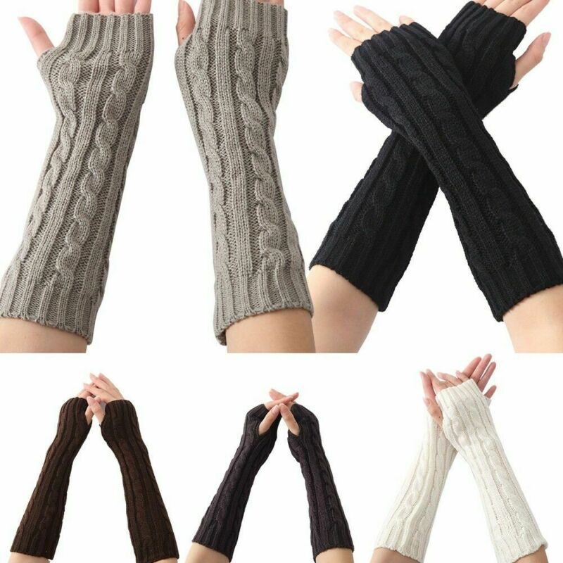 Women Winter Wrist Arm Warmers Ladies Crochet Knitted Long Fingerless Thumb Hole Gloves Mittens Hand Warmer New Black White Gray