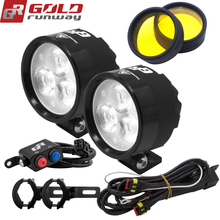 Auxiliary-Lamp Headlight GOLDRUNWAY Motorcycle Scooters 18W 12V 2400LM LED EXP3 Fully-Dimmable