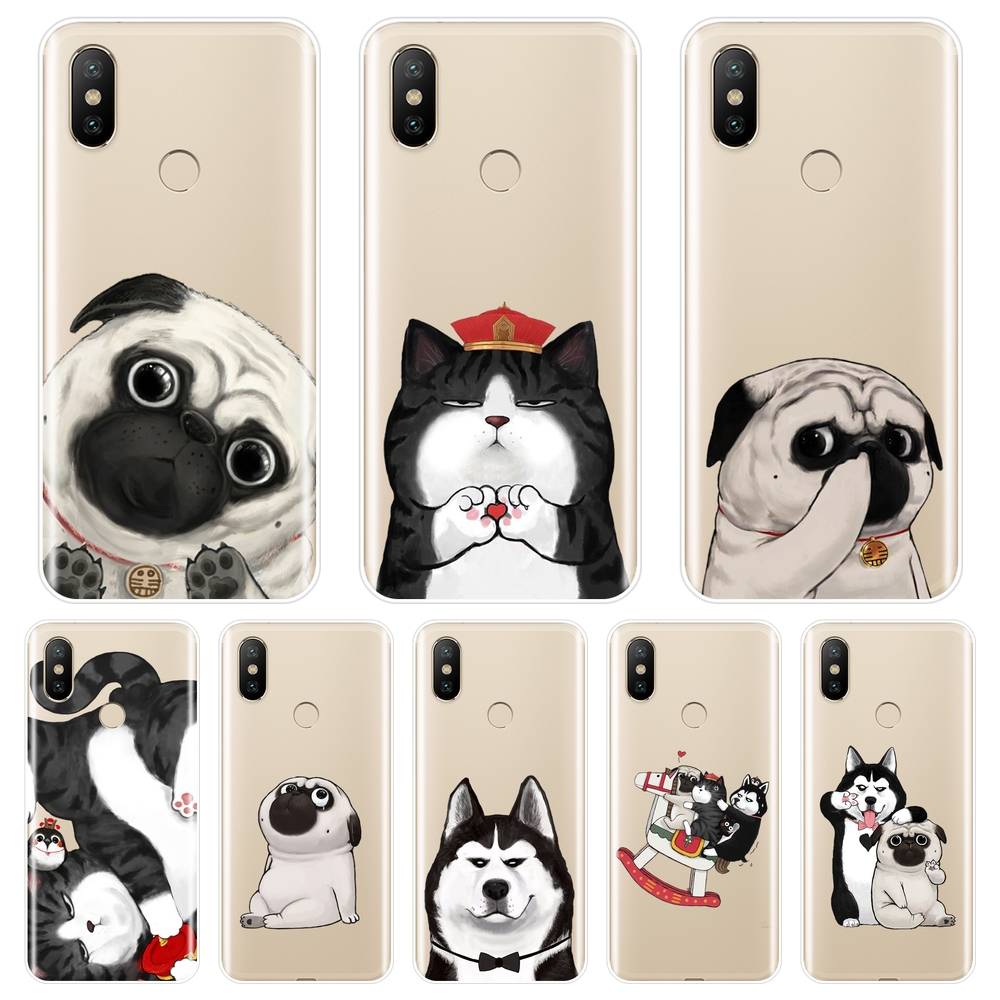 <font><b>Pug</b></font> Dog Cat Back <font><b>Cover</b></font> For <font><b>Xiaomi</b></font> <font><b>Mi</b></font> A1 <font><b>A2</b></font> Lite 8 SE Mi5 Mi6 Mi8 Soft Silicone Phone Case For <font><b>Xiaomi</b></font> <font><b>Mi</b></font> 5 5C 5S 5X 6 6X Plus image