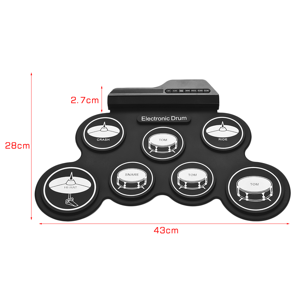 Compact Size USB Roll-Up Silicon Drum Set Digital Electronic Drum Kit 7 Drum Pads with Drumsticks Foot Pedals for Beginners-3
