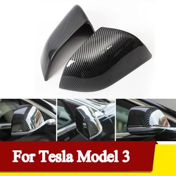 2x lustrzane osłony Model3 na boczne drzwi samochodu pokrywy lusterek wstecznych lustrzane osłony czapka dla Tesla Model 3 prawa strona skrzydło osłona lusterka na drzwi lustrzane osłony z włókna węglowego tanie i dobre opinie CN (pochodzenie) For Tesla Model 3 2017-2020