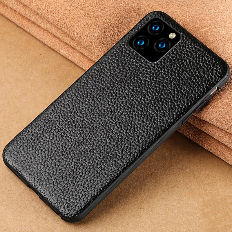Genuine Leather Mobile Phone case for iphone 11 11Pro 11 Pro Max X XR XS Max 6 6S 7 8 plus se 5 360 Full protective Litchi Grain image