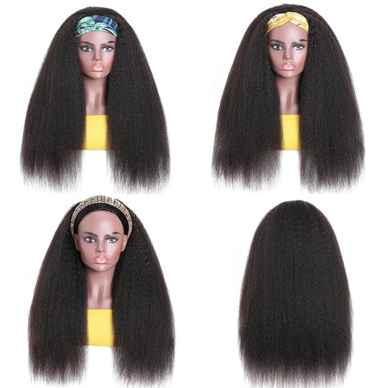 Headbands Wig   Kinky Straight  Glueless Natural Wig With Head Band Full Machine Made Wig 150% Density 4