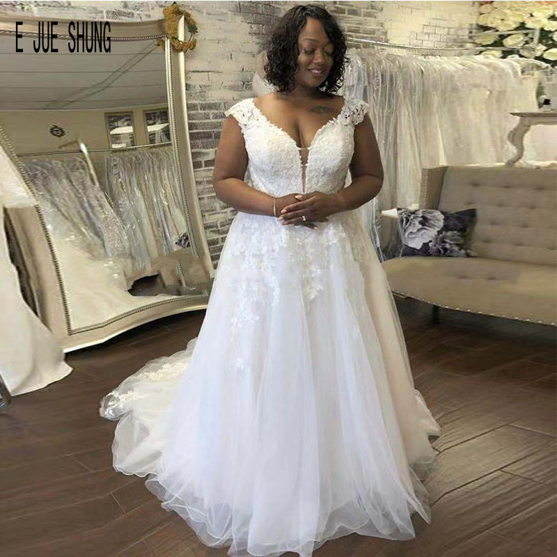 E JUE SHUNG Sexy Tulle African Wedding Dresses Cap Sleeves Deep V Neck Backless Lace Appliques Bridal Gowns Vestido De Novia