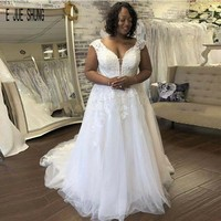 E JUE SHUNG Sexy Tulle African Wedding Dresses Cap Sleeves Deep V Neck Backless Lace Appliques Bridal Gowns Vestido De Novia