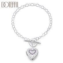 DOTEFFIL 925 ayar gümüş mor AAA zirkon kalp bilezik kadınlar için düğün nişan parti moda takı