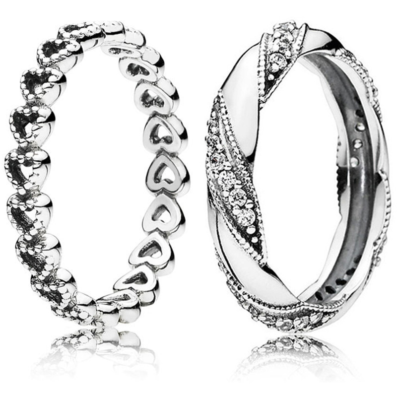 2 Style Silver Rings With Hollow Love Heart Winding Crystal Wedding & Party Ring For Women Jewelry Gift Size 5-10